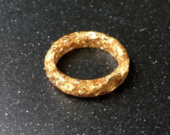 Gold Resin Ring with Gold flakes