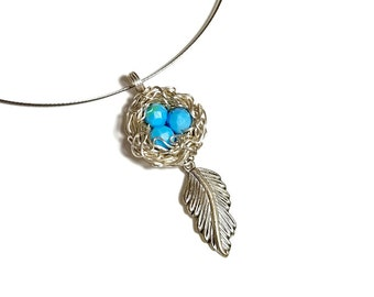 Silver Robins Birds Nest Necklace, Boho Pendant with Feather, Silver,  Gift For Mom