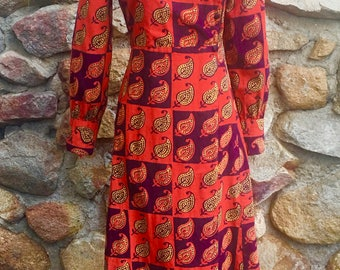 Vintage Bohemian 1970's India Cotton Maxi Dress by Sundeep Made In India