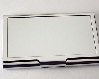 Custom Engraved Personalized Chrome Plated Business Card Holder  -Hand Engraved