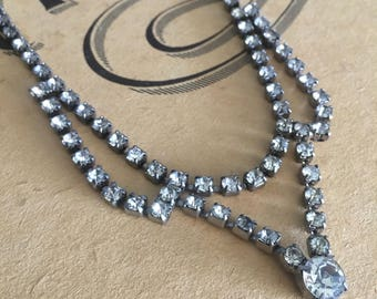 1950s 1960s vintage necklace jewelry crystal crystals 50s 60s