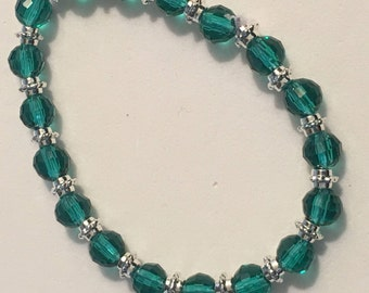Green Crystal and Silver Beaded Stretch Bracelet