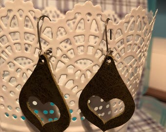 Brown leather cut out earrings