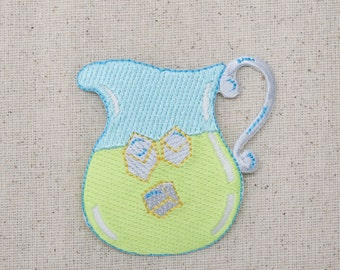 Lemonade Pitcher - Lemon Drink - Fruit - Blue and Yellow - Iron on Applique - Embroidered Patch - AP-511718