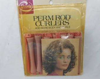 Vintage Goody Perm Rods new old stock 14 perm rods in pink for soft curly look salon decor vintage hair products perm rod number 430/3