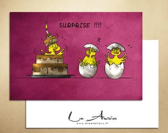 Birthday card - chick coming out of the cake
