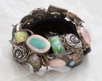 Vintage Sterling Silver Button Bracelet