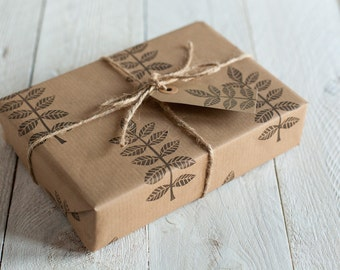 Handprinted Leaf Design Wrapping Paper, Including 1 Piece Gift wrap, 2 x Gift Tags & Twine.