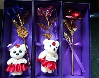 Golden rose and teddy - Perfect gift for anniversary, birthdays, any occasion