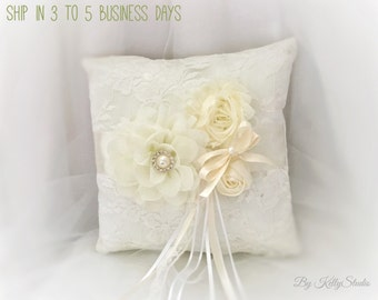 Ring bearer pillow, Ring bearer pillow ivory,  White, Flower girl basket ivory, white, Pearlhandle basket,Handmade