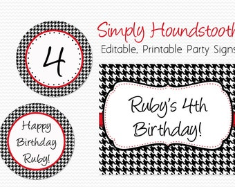 Party Signs, Welcome Sign, Houndstooth Birthday Party Decoration, Bridal Shower, Wedding Decor, Graduation - Editable, Printable, Instant