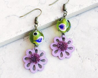 Purple Flower Green Earrings, Mexican fiesta collage earrings