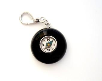Vintage BAKELITE COMPASS Pendant Charm - Midnight Black - Key Fob - Super CHUNKY - Large Charm