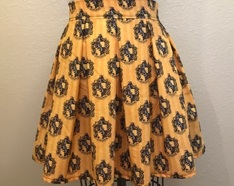 Harry Potter Hufflepuff House Printed Adult High Waisted Skater Skirt