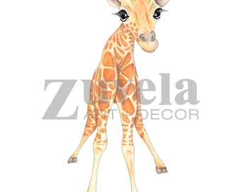 Baby giraffe print, baby giraffe art, baby animal prints, nursery decor