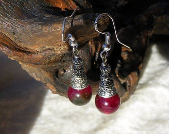 RED CURRANT TOURMALINE GEMSTONE 925 SILVER EARRINGS
