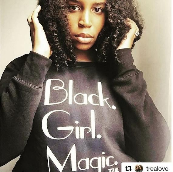Black Girl Magic Off Shoulder Sweatshirt