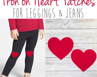 Heart Patch Knee Patches (Set of 2) Iron on Knee Patches for Girls Knee Patch Leggings, Iron on Hearts, Iron on Heart, Valentine Outfit