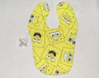 Spongebob Square pants Bib binky holder