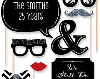 25th Anniversary - 20 Piece Anniversary Photo Booth Props Kit