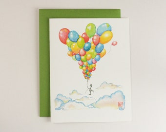 Birthday Balloons Card, Watercolor Birthday Card, Whimsical Birthday Card, Inspirational Birthday Card, Colorful Birthday Card