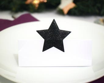 Star Place settings, set of 6, black or white, table decor, name setting, place card, party supplies, table setting