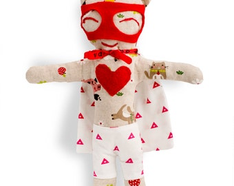 Rag doll-super hero-boy-Mister Babe-Super Doudou for kid in printed cotton farm animals