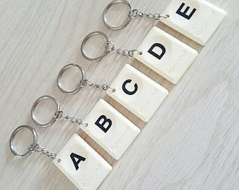 Rummikub tile initial letter personalized key chain (wedding give away, birthday present) - free shipping