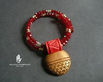 Adjustable Red and Gold Medallion Bracelet