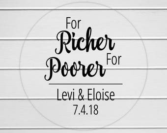 For Richer For Poorer Stickers, Lottery Ticket Wedding Labels, Customizable Wedding Stickers (#217-3-C)
