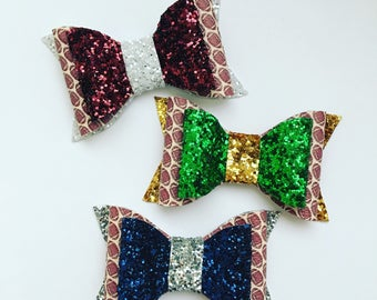 Football School Spirit Faux Leather and Glitter Bow and Headband