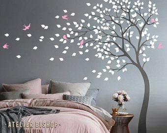 Bending tree in the wind with birds and loose leaves wall decal dark grey tree nursery wall sticker pink wall mural