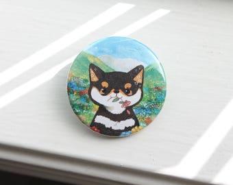 "Flower Field Shiba 1.5"" Pinback Button"