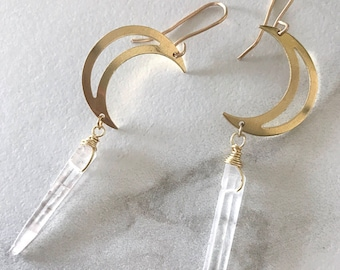 Gold Moon Earrings, Dainty Quartz Earrings, Crescent Moon Earrings, Half Moon Earrings Gold, Dangle Quartz Earrings, Moon Earrings Dangle