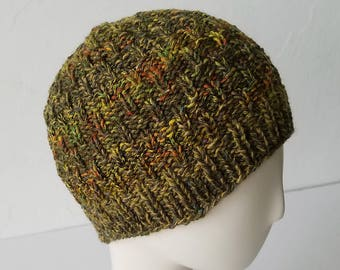 Hand Knit hat in Olive Autumn Mix – Adult One Size