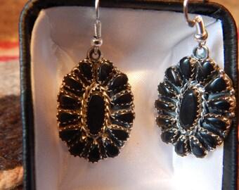 Onyx earrings, Southwestern Jewelry,**** sterling silver, southwest jewelry, womens earrings, onyx earrings, sterling silver, gifts, elegant