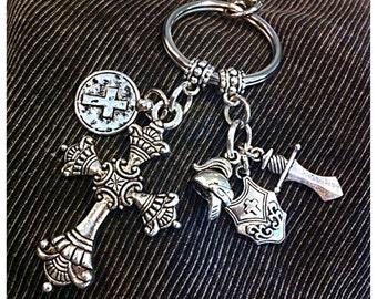Keychain, Christian Keychain, Armor of God Keychain, Cowgirl Keychain, Cross Keychain with Armor of God Charms