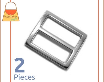 "1 Inch Center Bar Slide Purse Strap Slider Buckle, Shiny Nickel Finish, 2 Pieces, 1"", Handbag Purse Bag Hardware Supplies, BKS-AA083"