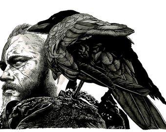 VIKINGS - Ragnar Lothbrok (Travis Fimmel) original A3 ink drawing portrait