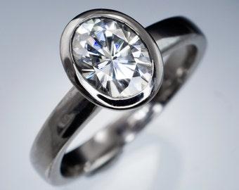 Oval Forever One Moissanite Ring Bezel Solitaire Engagement Ring in Palladium, Platinum, White Gold, Diamond Alternative Ring
