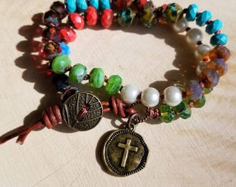 Bohemian knotted bracelet/ Double wrap bracelet/ Earthy color bracelet/ Handmade bracelet/Serenitybymisti bracelet