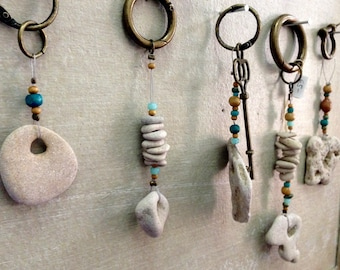 Beautiful Keychain, Unique Keychain, Special keychain, One of a kind, Drilled Beach Rocks, Handmade keychain, Gift from Israel, for jewish