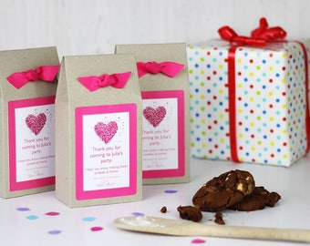 Personalised Party Bag, Heart Chocolate Chip Cookie Mix Party Bags - Baking Mix Party Bag - Kids Party Bags