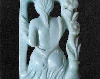 Hand Carved Amazonite Goddess Mega Pendant