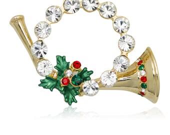 Gold-tone Swarovski Element Crystals Christmas Horn Wreath Brooch