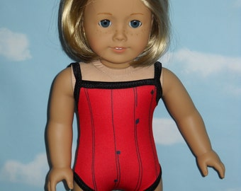 American Girl 18 inch Doll Bathing Suit  Handmade Red