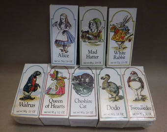 Vintage Crabtree & Evelyn  ALICE IN WONDERLAND Soaps 2.8oz ~ 8 box set Complete from 1978 Rare Outstanding