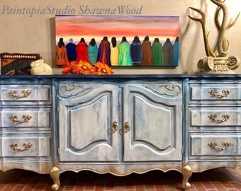 Vintage Buffet, Entryway Furniture, Vintage Sideboard, Hand Painted, Blue  Dresser, White