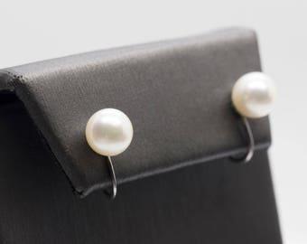 Akoya Pearl 7.5mm 14k White Gold Screwback Earrings, Akoya Pearl Screwback Earrings 14k, 7mm Akoya Pearl Earrings, Akoya Pearl Screwback