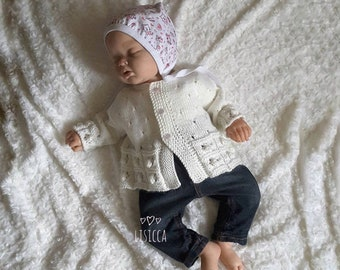 Hand knitted baby outfits Hand knitted baby clothes Baby knit booties Knitted baby cardigan Baby clothes girl handmade Home coming outfit